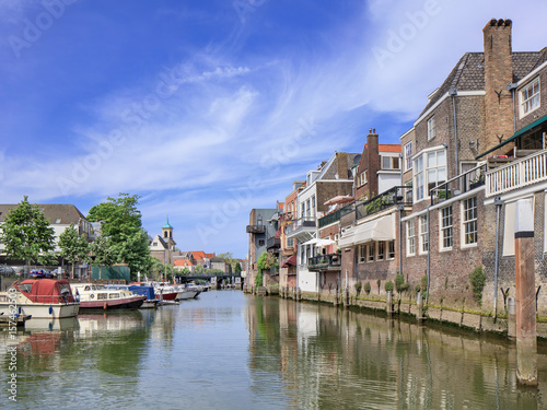 Poster Channel Ancient canal in the historical inner city of Dordrecht, The Netherlands