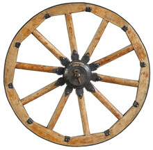 Classic Old Antique Wooden Wagon Wheel With Black Metal Brackets And Rivets. Wheel With Wooden Spokes. Old Fashion Horse Vehicle Waggon Wheel. Traditional Cannon Wheel Isolated On White