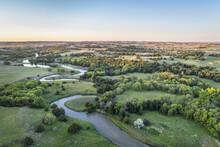 Aerial View Of Dismal River In Nebraska