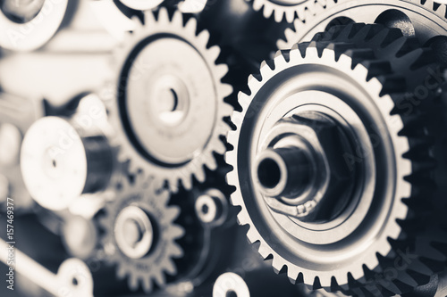 Fototapeta  engine gear wheels, industrial background