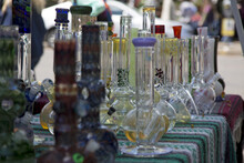 Close Up View Glass Bongs On F...