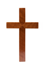 Wood Cross Isolated White.