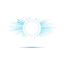 Bright Blue Sun Rays Banner Graphic Design, Vector Illustration