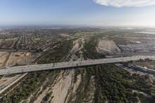 Aerial View Of The Ventura 101 Freeway Crossing The Santa Clara River In Oxnard, California.