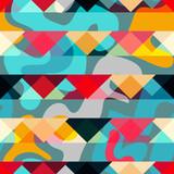 Fototapeta Młodzieżowe - bright graffiti geometric seamless pattern grunge effect