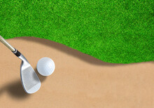 Golf Ball On Sand Trap With Cl...