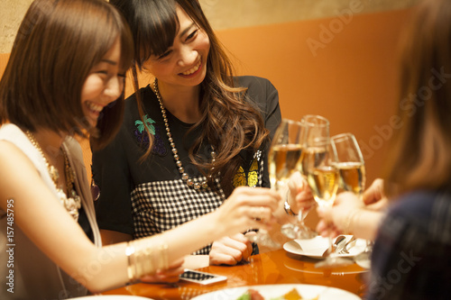 Women are drinking at a luxurious restaurant