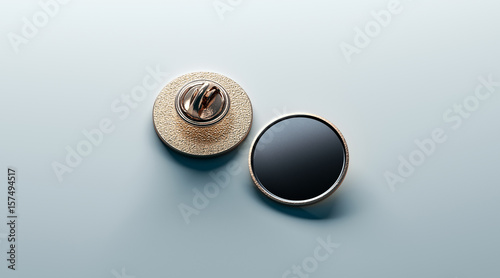 Fotografija Blank black round gold lapel badge mock up, front and back side view, 3d rendering