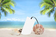 Summer sandy beach empty tag price with shell and coconut tree on blur ocean and sky background. for advertising.