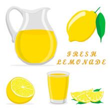Vector Illustration Logo For Yellow Jug Liquid Lemonade Lemon Background.Jug Pattern Consisting Of Glass Pitcher Filled Waters Lemonades Natural Product.Lemonade Drink Fresh Raw Organic Liquid Of Jugs
