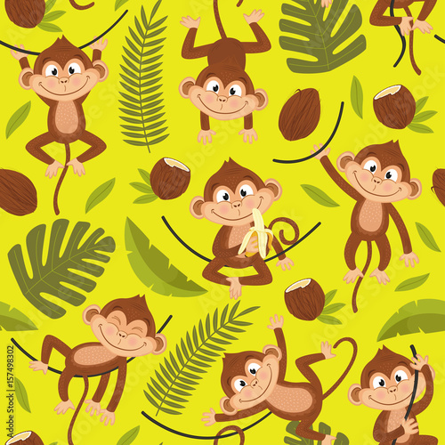 Cotton fabric seamless pattern with monkey on yellow background - vector illustration, eps
