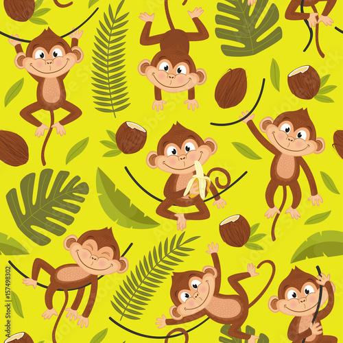 Materiał do szycia wzór z małpa na żółtym tle - ilustracja wektorowa eps