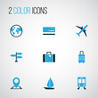 Traveling Colorful Icons Set. Collection Of Suitcase, Baggage, Map Pin And Other Elements. Also Includes Symbols Such As World, Baggage, Train.