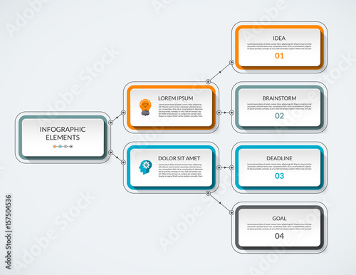 Infographic Flow Chart Modern Minimalistic Vector Template That Can