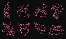 Romantic Pink Neon Cupid Valen...