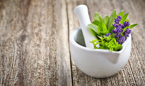 Medicine fresh herbs with white mortar