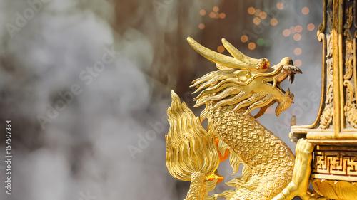 Photo  Golden Dragon Sculpture in shrine