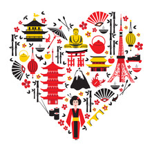 Japan Symbols Set In Heart Shape With Traditional Food, Travel Icons Vector Illustration Isolated, Landmark Kinkaku JI Temple, Itsukushima Shrine, Tokyo Tower, Confucius Temple, Mountain Fuji, Sakura
