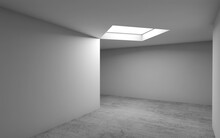 Concrete Floor, White Walls And Ceiling Light, 3d