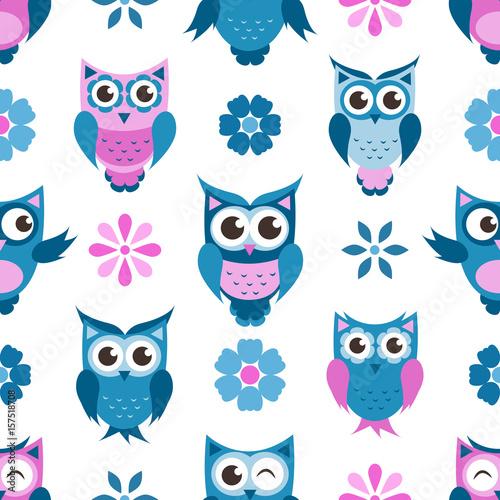 wzor-slodkie-sowy-i-kwiaty-w-kolorze-niebieskim-i-fioletowym