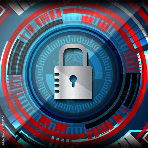 Fototapety, obrazy: Cyber security Concept on Abstract Technology background. Vector illustration