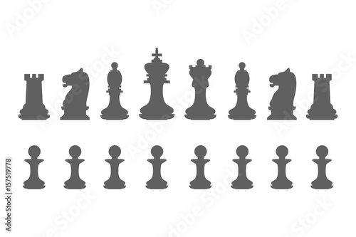 Set Chess Pieces King Queen Bishop Knight Rook And Pawn Icons