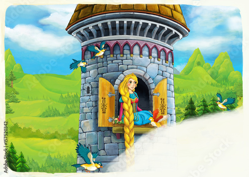 Photo  cartoon scene of a princess - girl - sitting in the window / illustration for ch