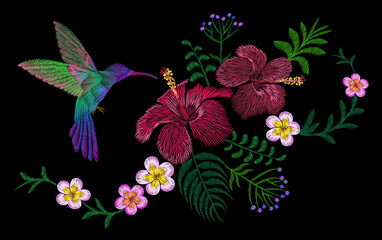 Fototapeta Egzotyczne Hawaii flower embroidery arrangement patch. Fashion print decoration plumeria hibiscus palm leaves. Tropical exotic blooming bird hummingbird vector illustration
