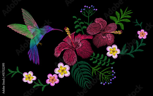 Hawaii flower embroidery arrangement patch. Fashion print decoration plumeria hibiscus palm leaves. Tropical exotic blooming bird hummingbird vector illustration - 157522911