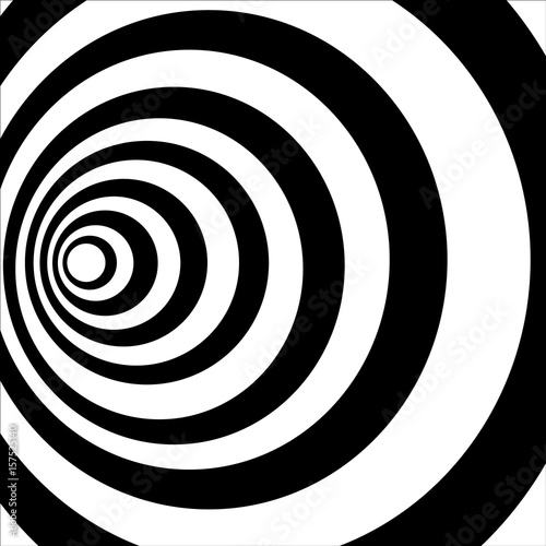 Poster Spirale A black and white tunnel. Optical illusion