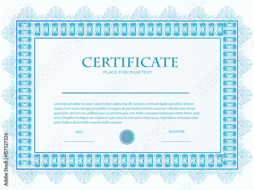 Illustration Of A Custom Certificate Template With Guilloche Buy
