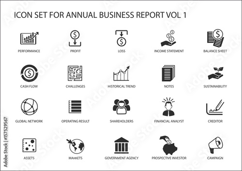 Fotomural Simple flat design business icons for annual company business report