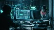 Team of Internationally Wanted Hackers Teem Organize Advanced Virus Attack on Corporate Servers. Place is Dark and Has Multiple displays. Shot on RED EPIC-W 8K Helium Cinema Camera.