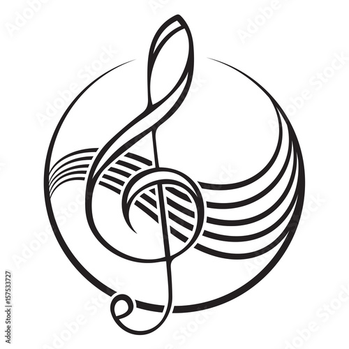 Fotografia Logo of a black treble clef.