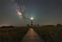 Boardwalk To Bodie Island Light At Night