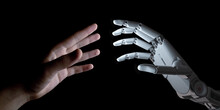 Hands Of Robot And Human Touching. Artificial Intelligence Technology Concept 3d Illustration
