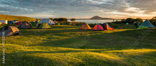 Foto op Canvas Kamperen Camping at Myvatn Lake, Iceland