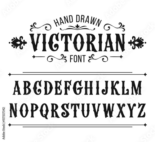 Obraz Hand drawn letters. Vector alphabet in Victorian style - fototapety do salonu