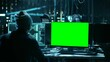 Team of Internationally Wanted Teenage Hackers with Green Screen Mock-up Display Infect Servers and Infrastructure with Malware. Shot on RED EPIC-W 8K Helium Cinema Camera.