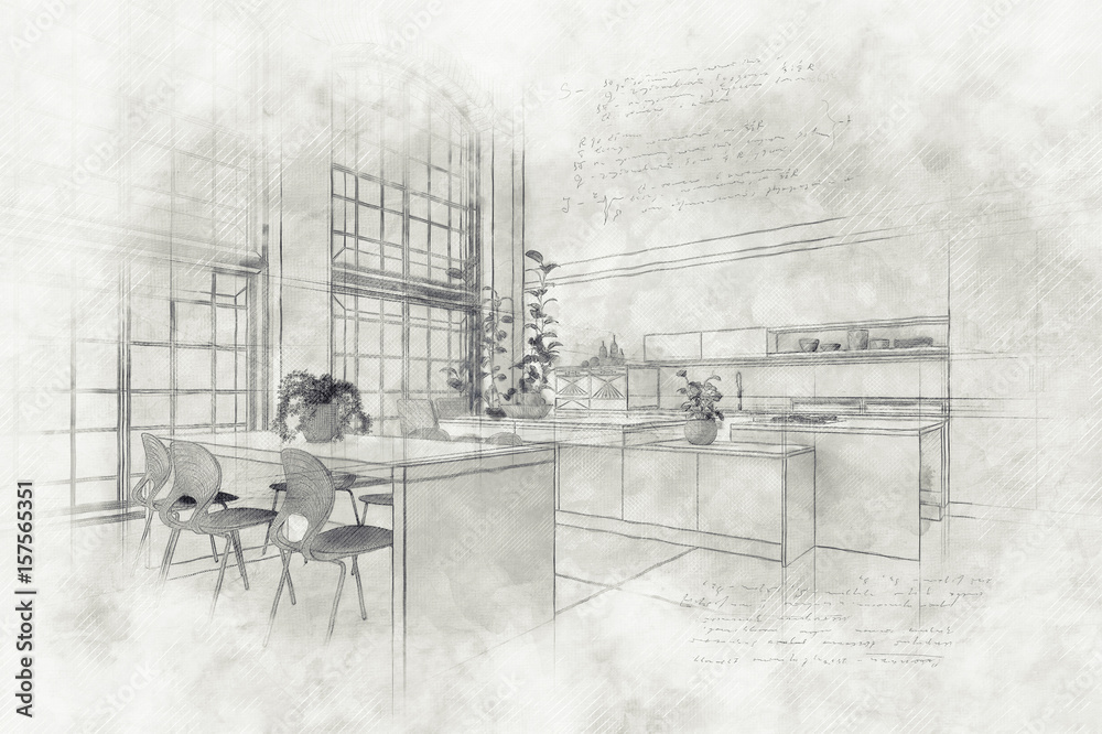 Teksturowane farby efekt rysunek nowoczesnej kuchni <span>plik: #157565351 | autor: XtravaganT</span>
