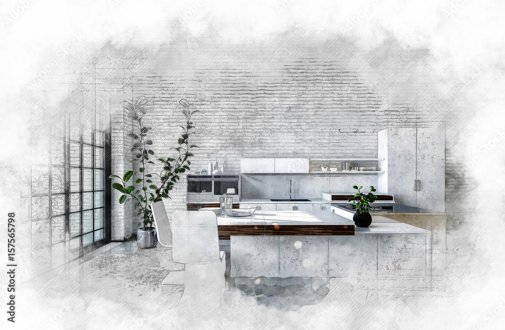 Artystyczny teksturowany obraz nowoczesnej kuchni