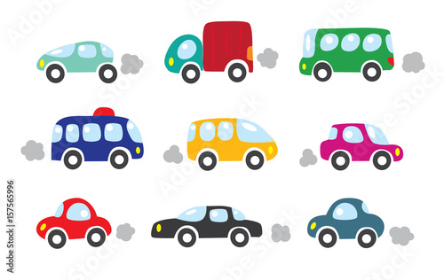 Staande foto Cartoon cars Small cars set