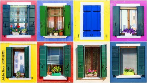 collage of windows from the island of Burano  Venice - Buy