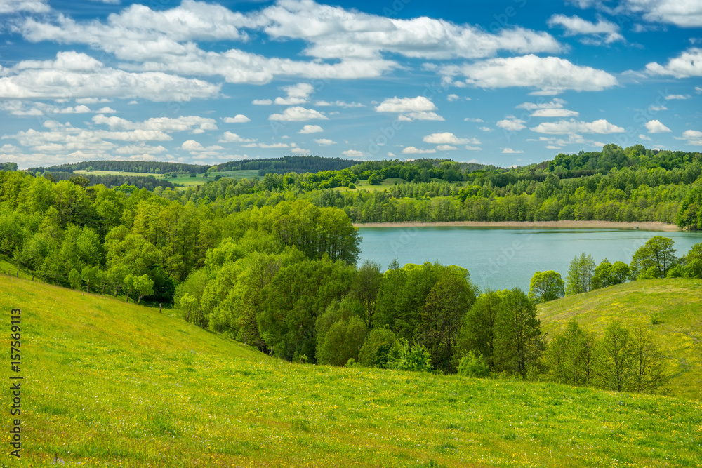 Fototapeta Wiosnny krajobraz, jezioro Szurpiły wśród zieleni - obraz na płótnie
