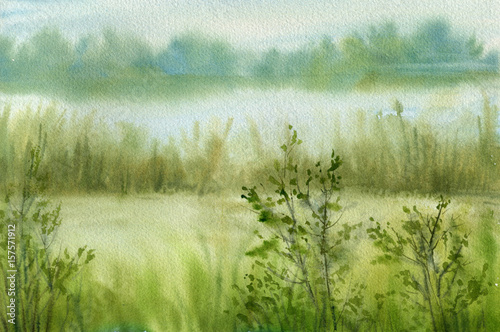 Photo sur Aluminium Pistache abstract watercolor landscape