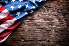 American  Flag. Usa Flag On Rustic Oak Board Diagonally.