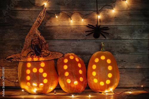 Fotografia, Obraz  Halloween pumpkins on wooden background