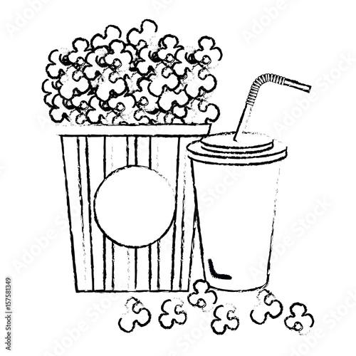 Foto op Aluminium Vogels in kooien pop corn with soda cinema food vector illustration design