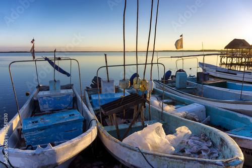 Early morning view of boats in Rio Lagartos, Mexico