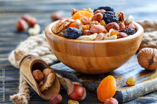 Wooden bowl with nuts and dried fruits.